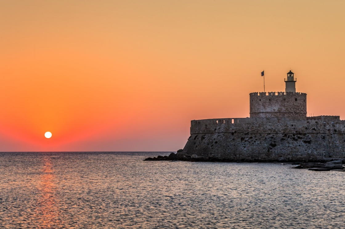 'Agios Nikolaos fortress on the Mandraki harbour of Rhodes, Greece ' - Rodos